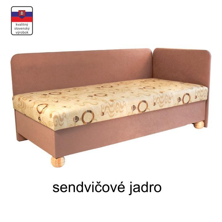 Váľanda s úložným priestorom, sendvičová, pravá, 90x195 cm, SIMBA