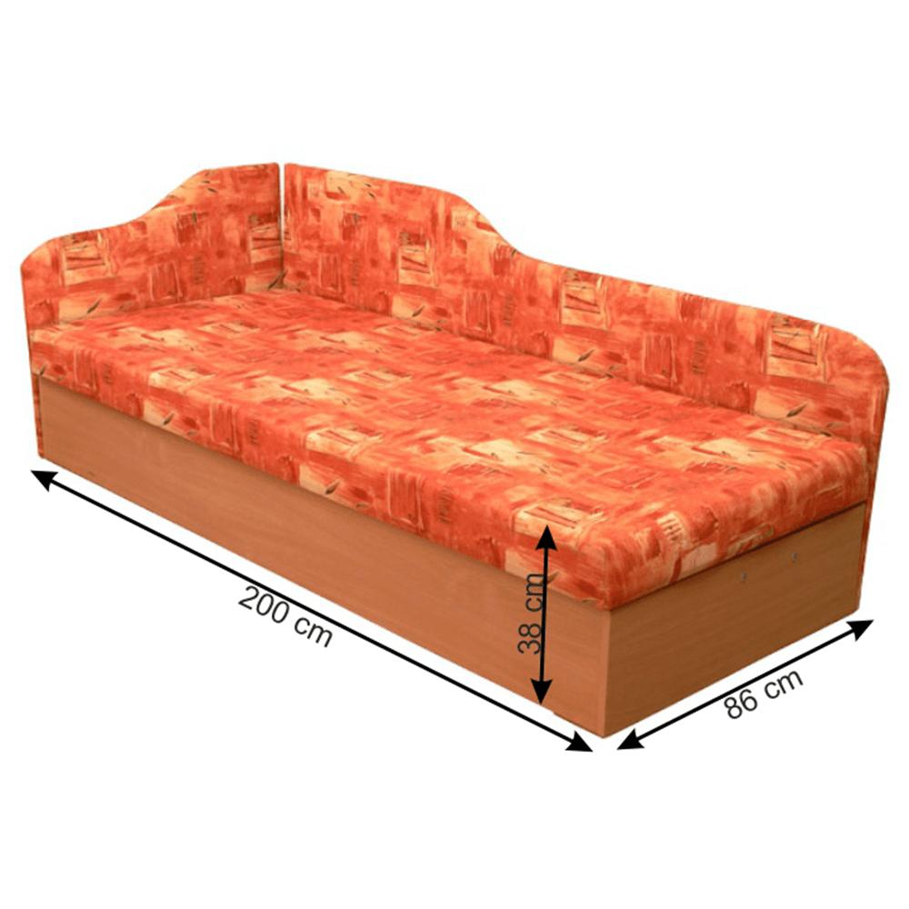 Váľanda so sendvičovým matracom, ľavá, oranžová/vzor, EDVIN 4.2