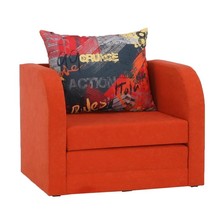 Rozkladacie kreslo, oranžová/vzor, RENO