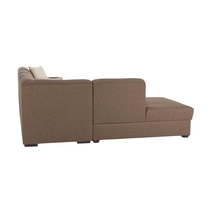 Rohová sedacia súprava, rozkladacia, s úložným priestorom, Ľ prevedenie, hnedá/béžová, YORK, detail z boku