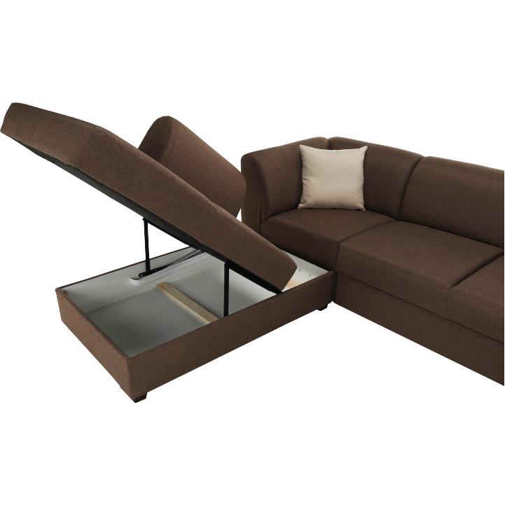 Rohová sedacia súprava, rozkladacia, s úložným priestorom, Ľ prevedenie, hnedá/béžová, YORK, detail úložného priestoru