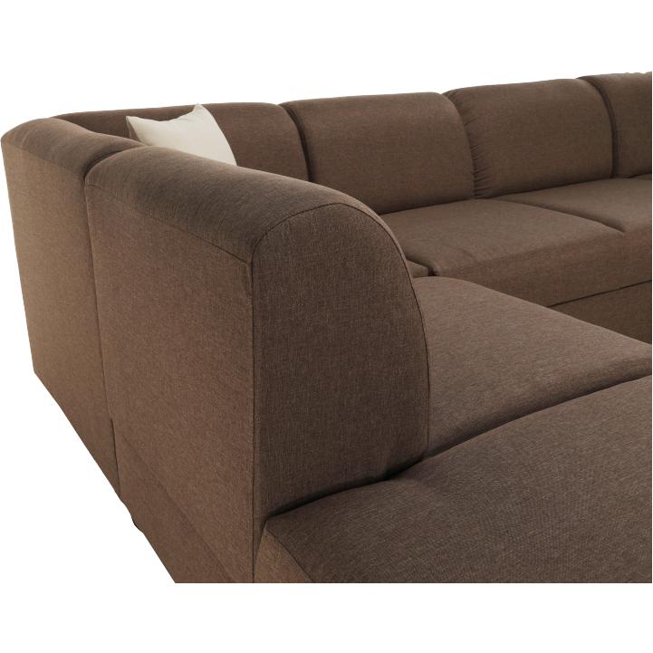 Rohová sedacia súprava, rozkladacia, s úložným priestorom, Ľ prevedenie, hnedá/béžová, YORK, operadlo