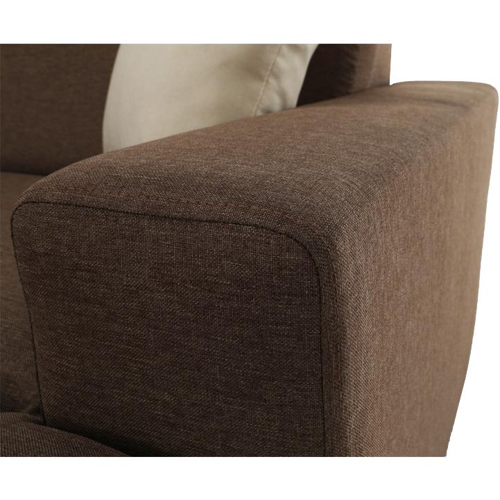 Rohová sedacia súprava, rozkladacia, s úložným priestorom, Ľ prevedenie, hnedá/béžová, YORK, opierka na ruky