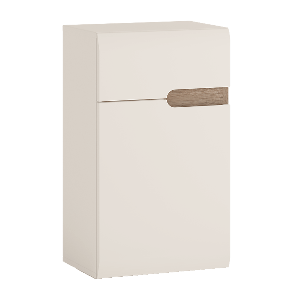 Alsó szekrény 1D1S, fehér extra magas fényű HG/sonoma tölgy trufla, balos, LYNATET TYP 156