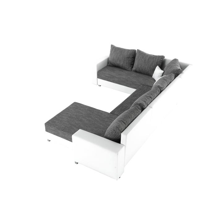 Rohová sedacia súprava, ekokoža biela/látka sivá, STILO