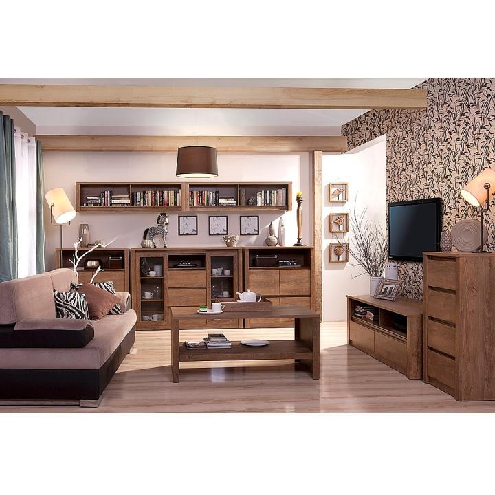Komoda, dub lefkas, MONTE TYP 08, interiérová fotka