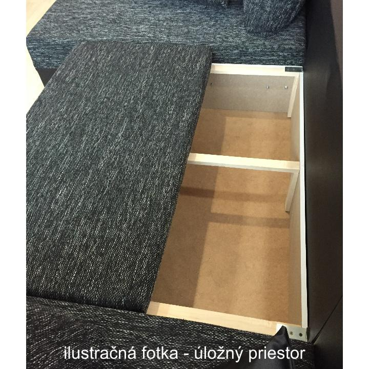 Rohová sedacia súprava, ekokoža čierna/látka sivočierna, STILO, úložný priestor