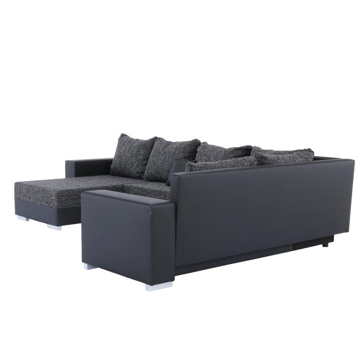 Rohová sedacia súprava, ekokoža čierna/látka sivočierna, STILO, detail na zadnú stranu