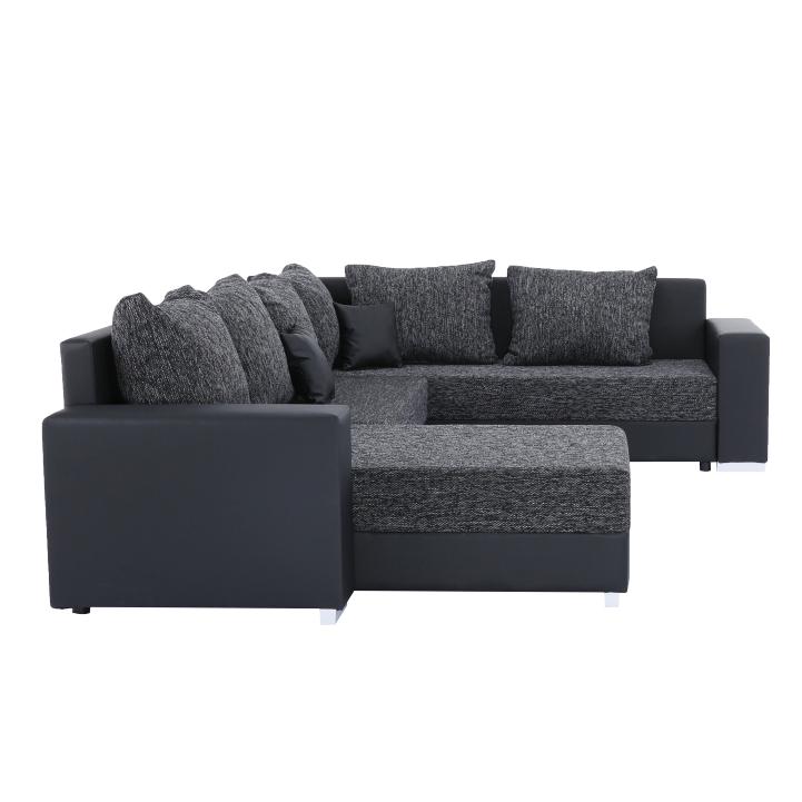 Rohová sedacia súprava, ekokoža čierna/látka sivočierna, STILO, detail z boku