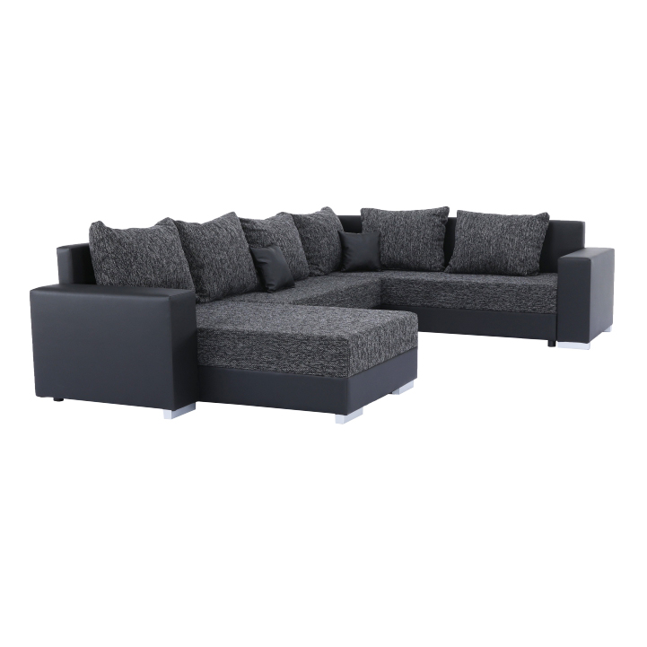 Rohová sedacia súprava, ekokoža čierna/látka sivočierna, STILO, pohľad z boku