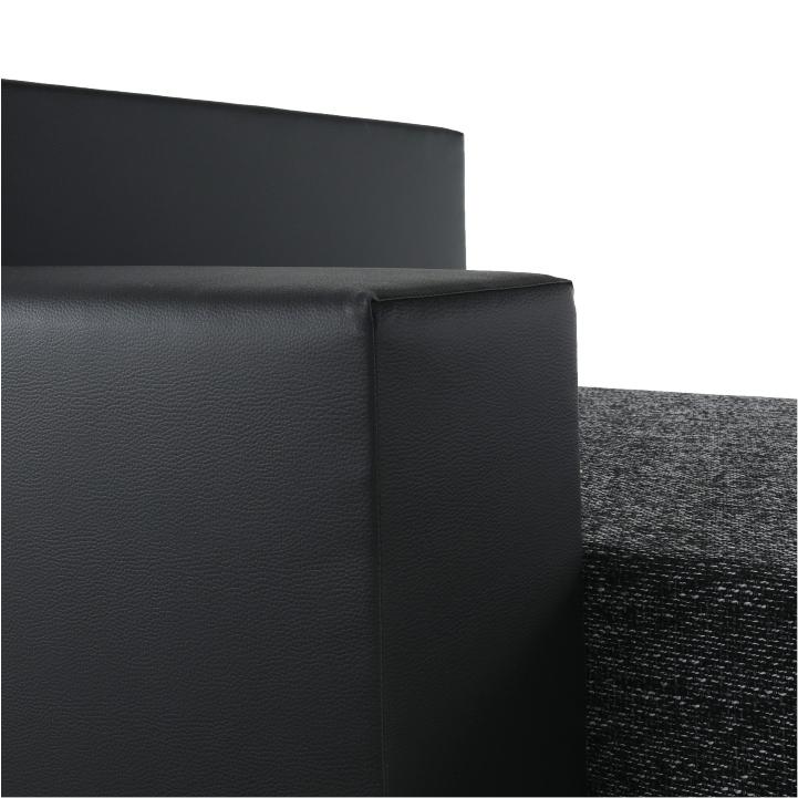 Rohová sedacia súprava, ekokoža čierna/látka sivočierna, STILO, detail na opierku ruky