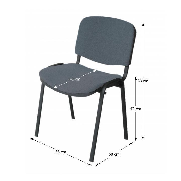 Kancelárska stolička, sivá, s rozmermi, ISO NEW