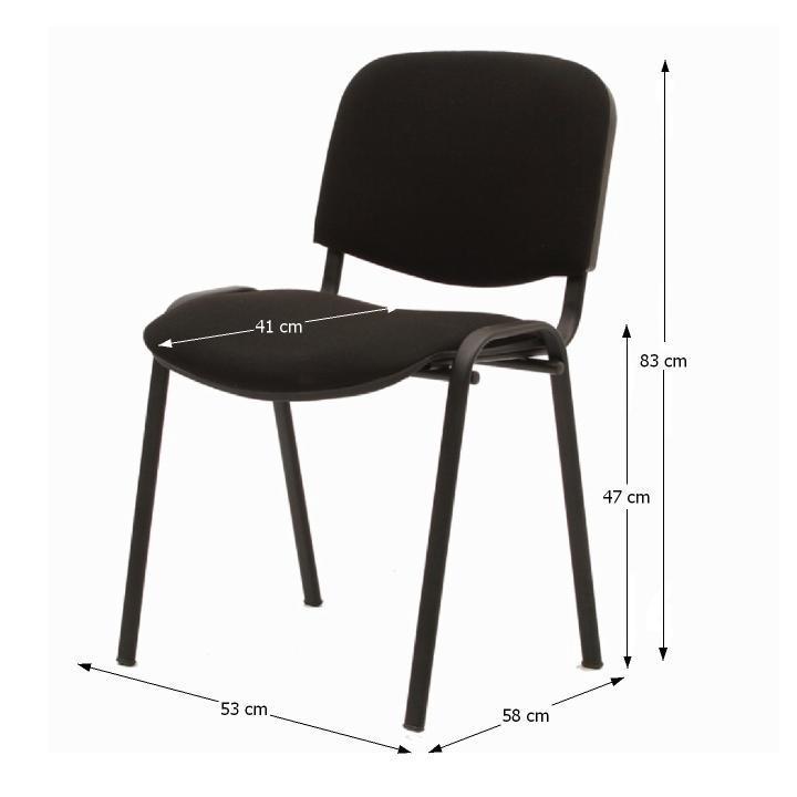 Kancelárska stolička, čierna, s rozmermi, ISO NEW