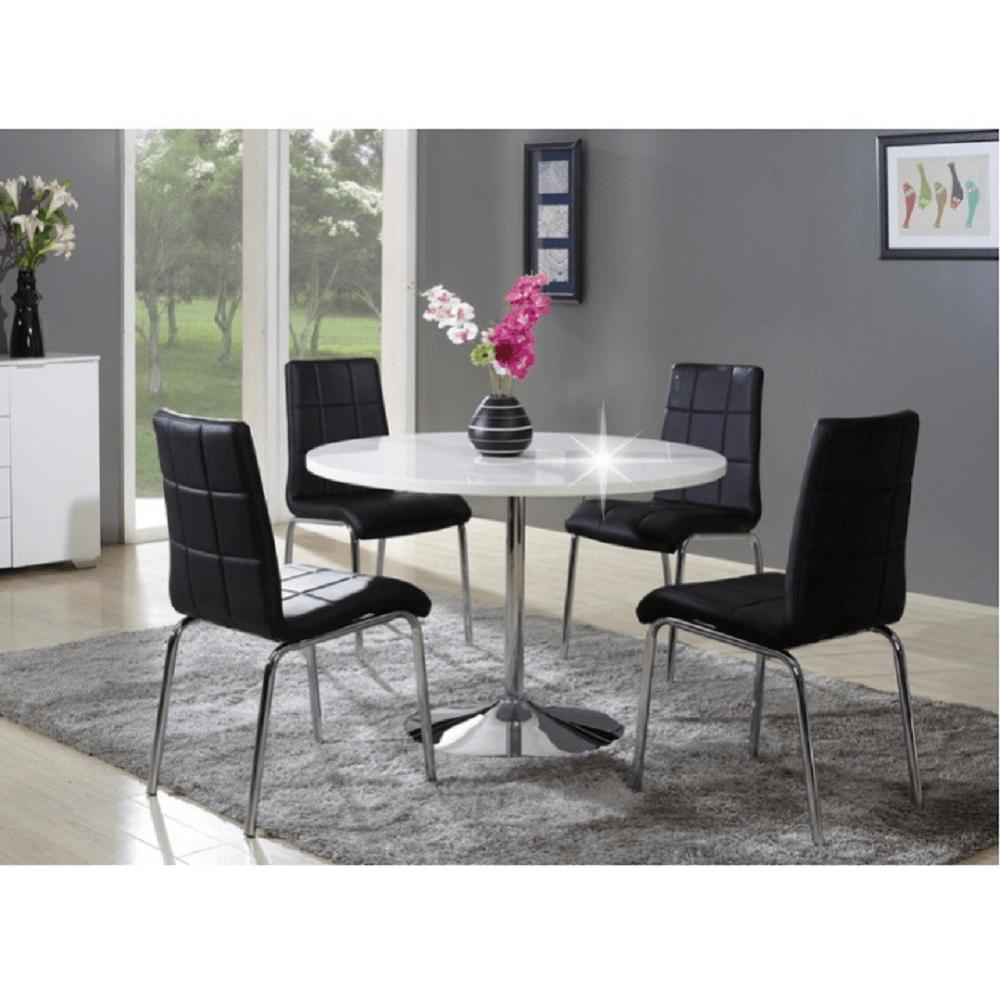 Jedálenský stôl, biela, extra vysoký lesk, PAULIN