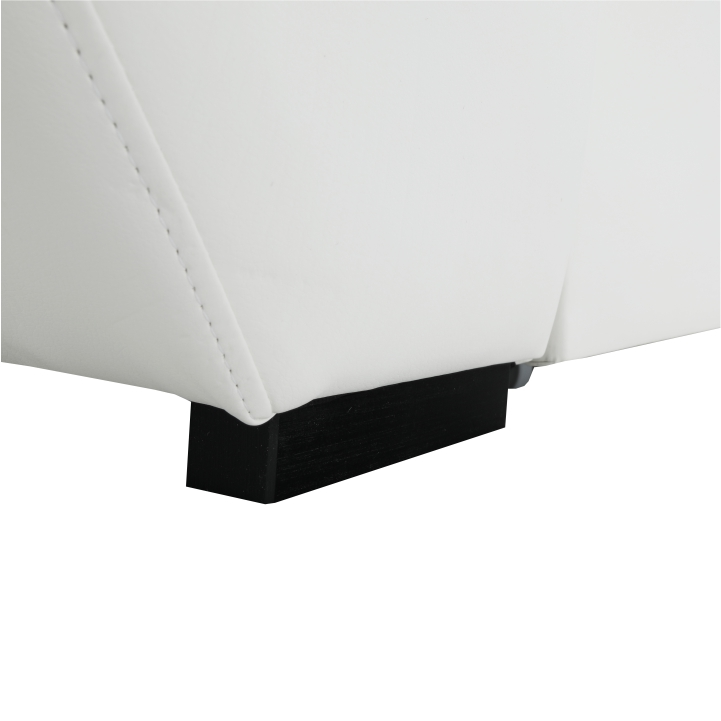Sedacia súprava, rohová, P, ekokoža biela/šenil Inari 94 tmavo sivý, detail na nožičku, AKRON
