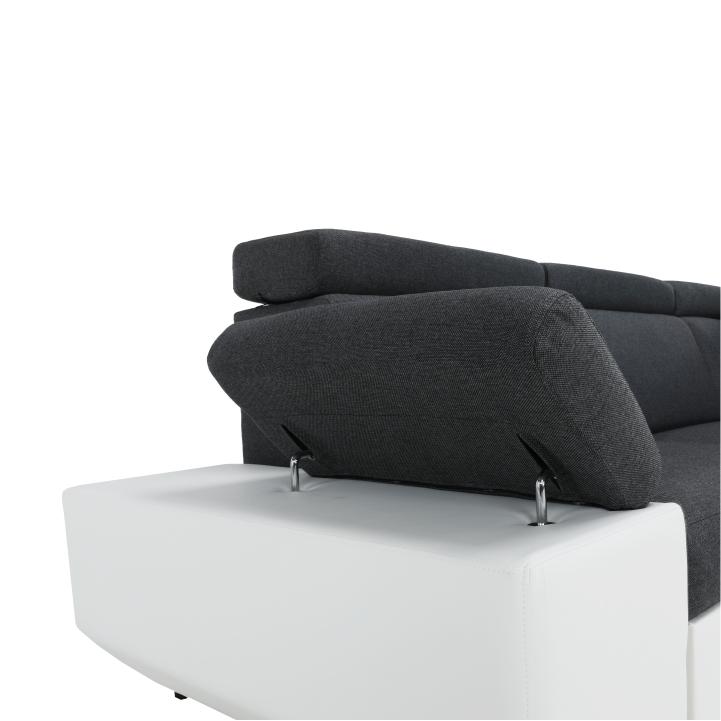 Sedacia súprava, rohová, P, ekokoža biela/šenil Inari 94 tmavo sivý, detail na zdvihnutú opierku, AKRON
