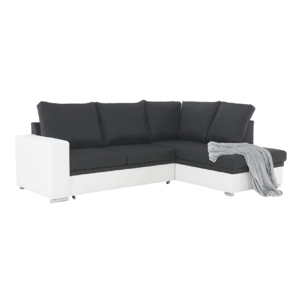 Colţar partea dreaptă, extensibil, piele eco albă/textil Mura negru, WARAN