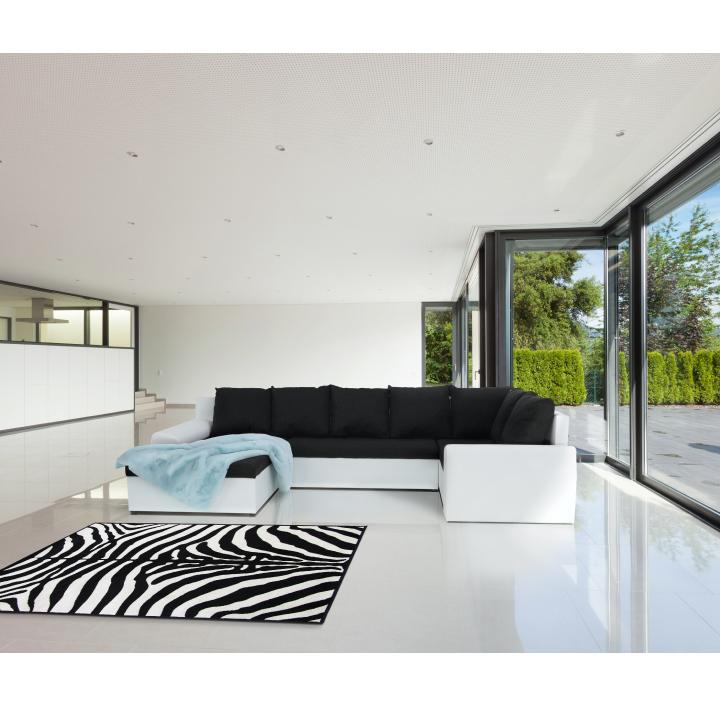 Sedacia súprava, v tvare U, rozklad/úložný priestor, ekokoža biela/látka  sivočierna, ilustračná interiérová fotka, JOY 2U