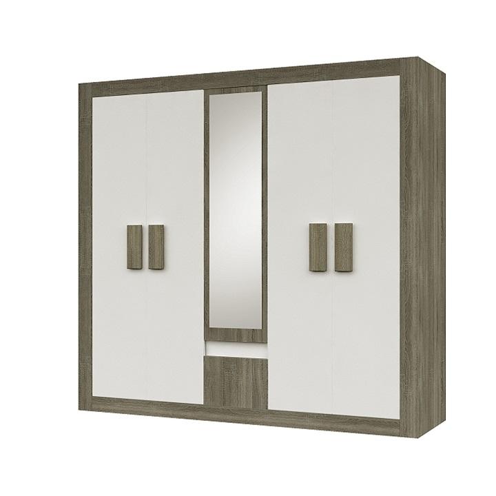 Skriňa 5 dverová/zrkadlo, dub sonoma trufel/biela, na bielom pozadí, MEDIOLAN
