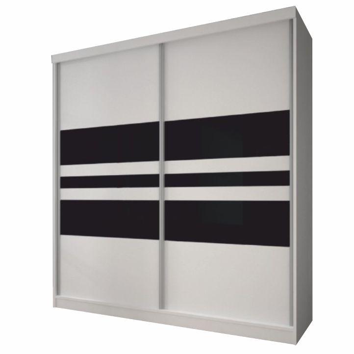 Skriňa s posuvnými dverami, biela/čierne sklo, 183x218, MULTI 11, na bielom pozadí