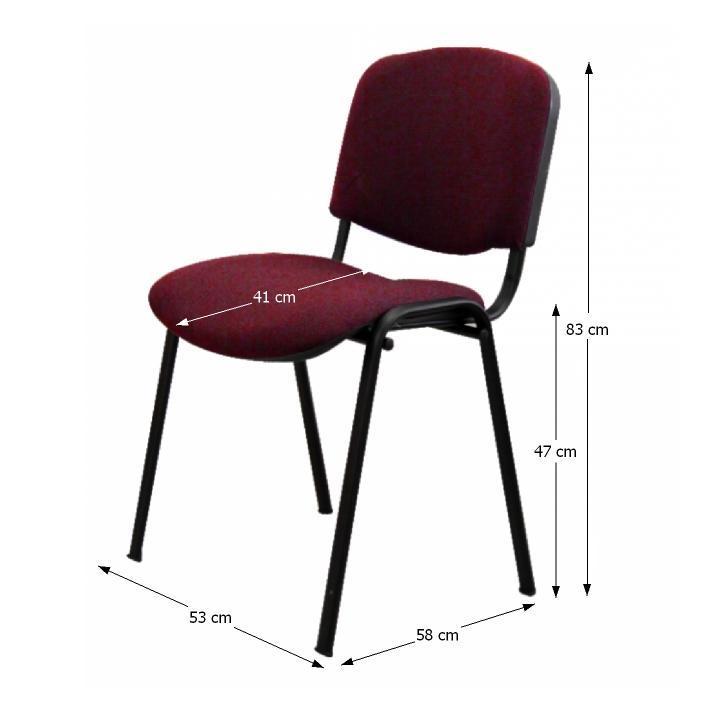 Kancelárska stolička, bordová, s rozmermi, ISO NEW