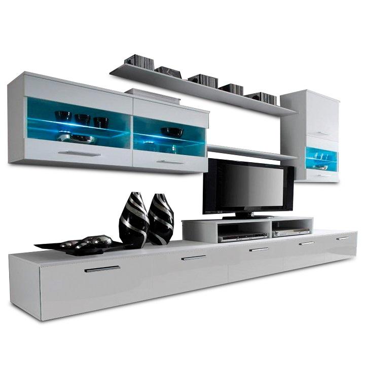 Obývacia stena, biela/biela extra vysoký lesk HG, LEO