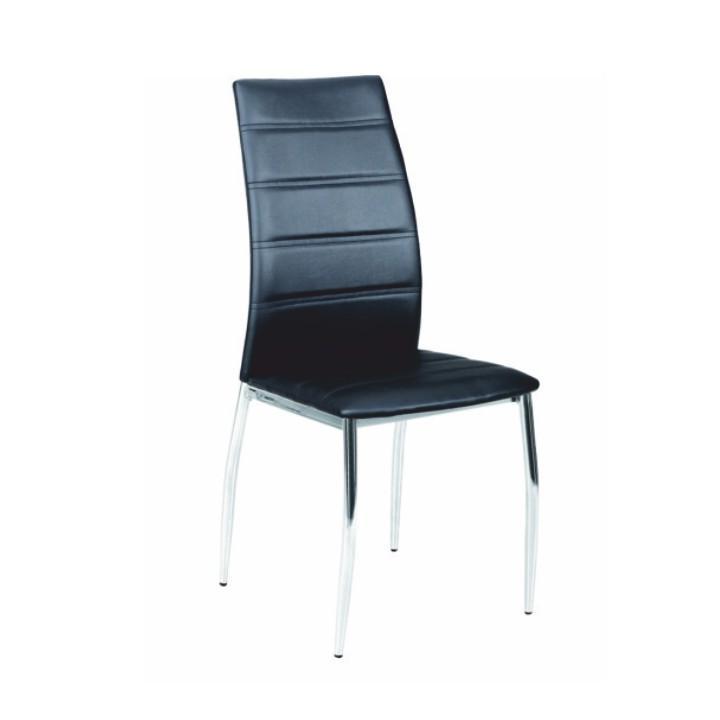 Stolička, ekokoža čierna/chróm, DELA
