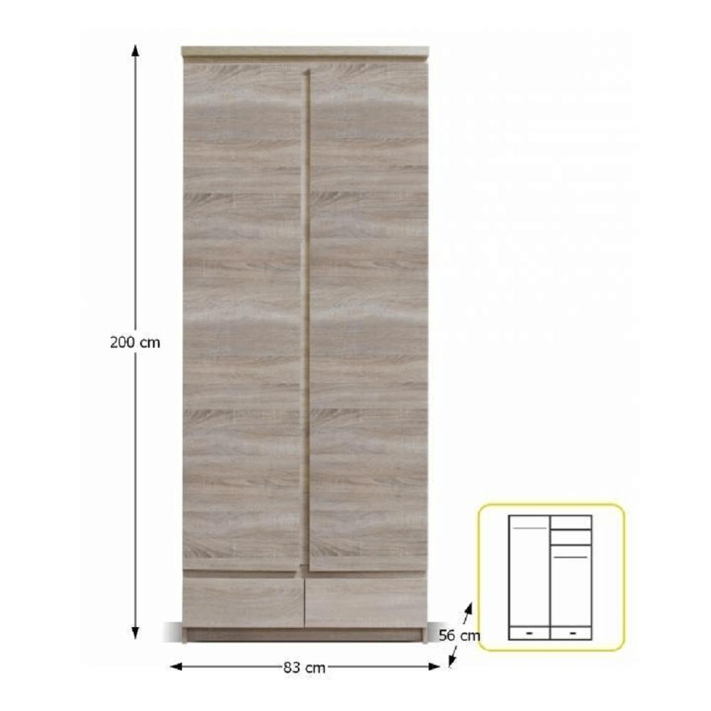 Dulap 2D2S, stejar sonoma, PANAMA Typ 01
