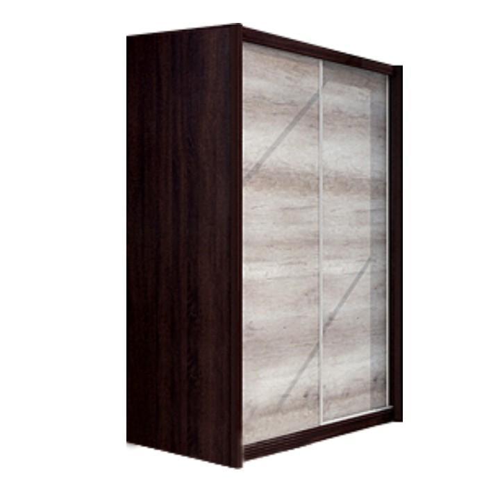 vešiaková skriňa s posuvnými dverami, dub sonoma / čokoláda, na bielom pozadí, FLAMENGO