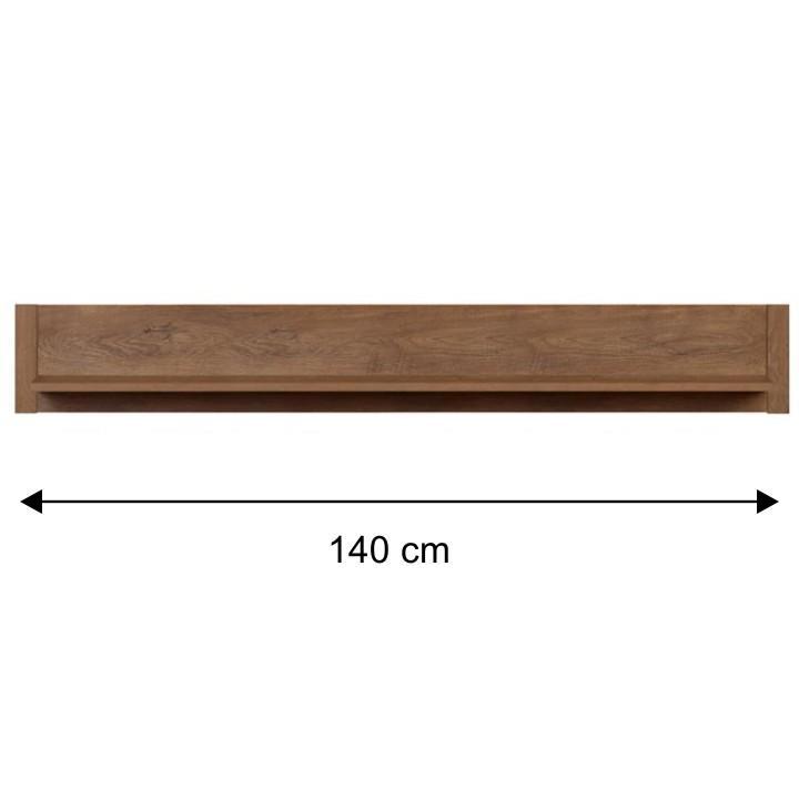 Závesná polica, Dub lefkas -140cm, MONTE TYP 18