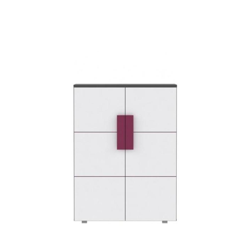Komód kétajtós , szürke / fehér / lila, LOBETE 40