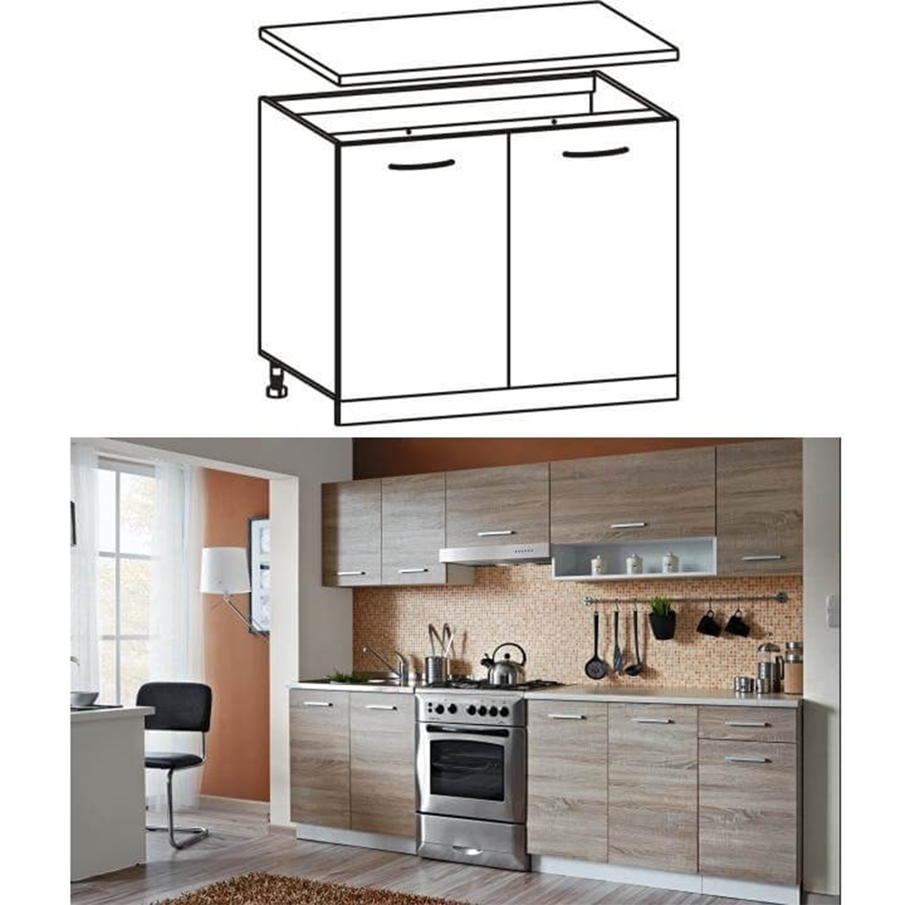 Dulap de bucătărie, inferior, stejar sonoma/alb, CYRA NEW D 80