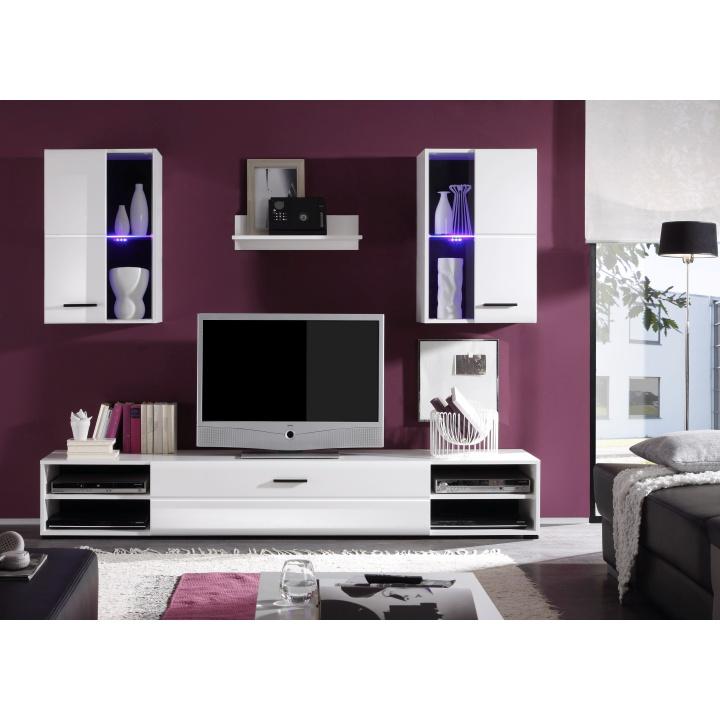Obývacia stena, vysoký biely lesk, interiérová fotka, MAYHEM