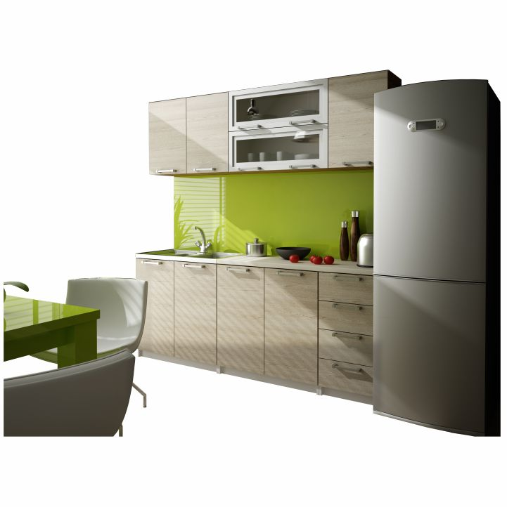 Kuchynská linka, dub, na bielom pozadí, IRYS ZS 2,0 m