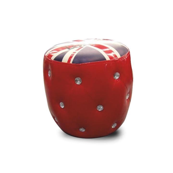 Taburet, červená/vzor, na bielom pozadí, LONDON