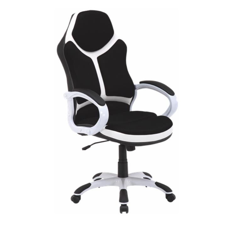 Kancelárske kreslo, ekokoža biela/čierna, ARETAS