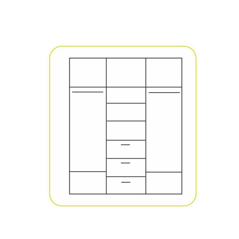 Szekrény 3-ajtós, sonoma tölgyfa/fehér, EMIO 01 TÍPUS