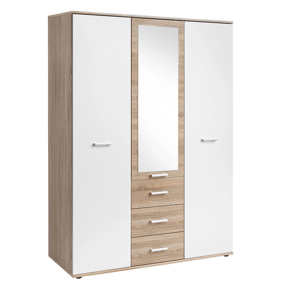 Dulap cu trei uşi, stejar sonoma/alb, EMIO TYP 01