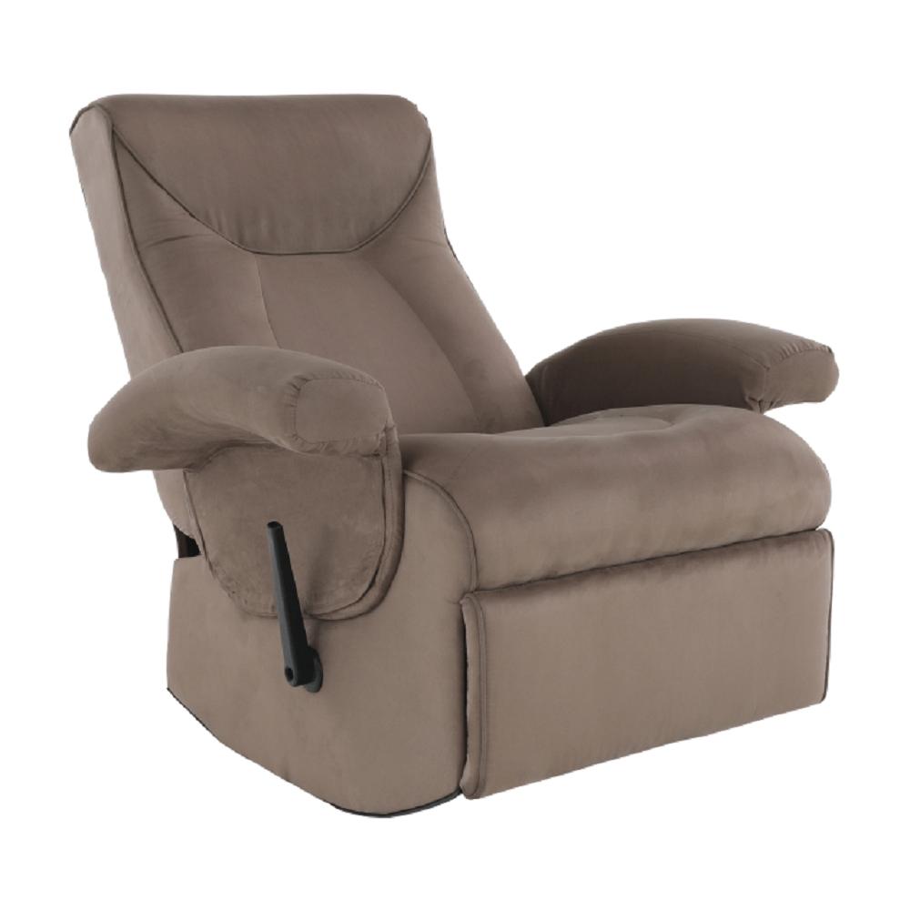Fotoliu relaxant, cu funcţie electrică de vibraţie, textil gri maronie, SUAREZ