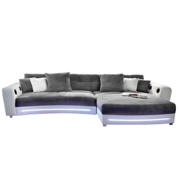 Rohová sedacia súprava s elektronickými doplnkami, ekokoža  biela /látka sivá , LUXLAREDO