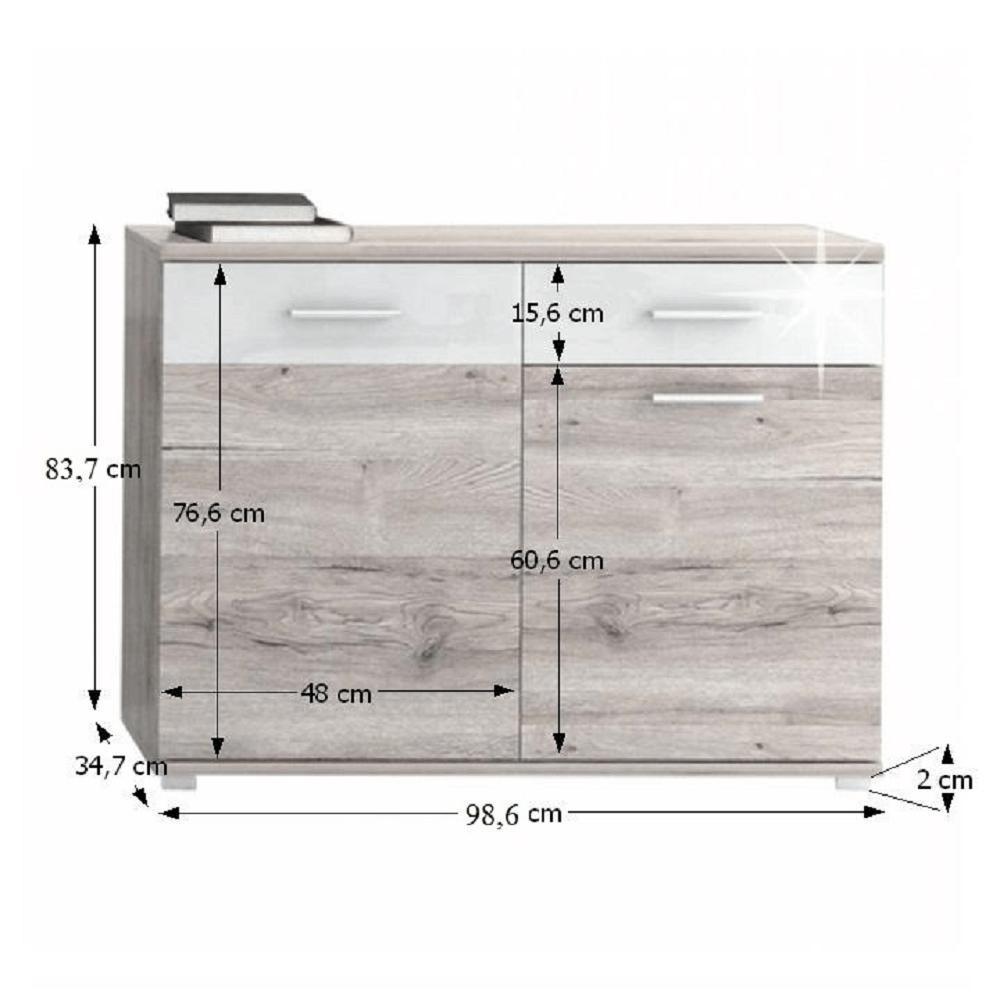Komód, tölgyfa canyon/fehér HG, RACHEL TYP 3