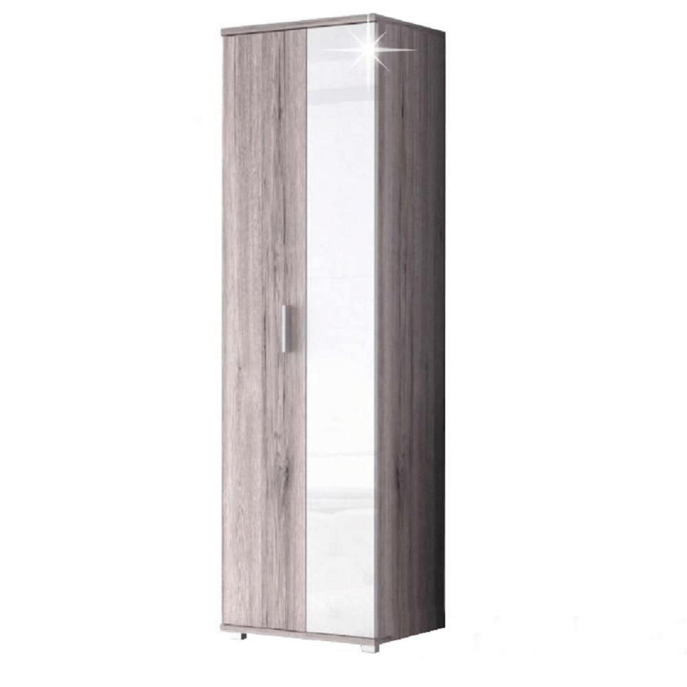 Kétajtós szekrény, canyon tölgyfa/fehér extra magas fényű, RACHEL 1 TÍPUS