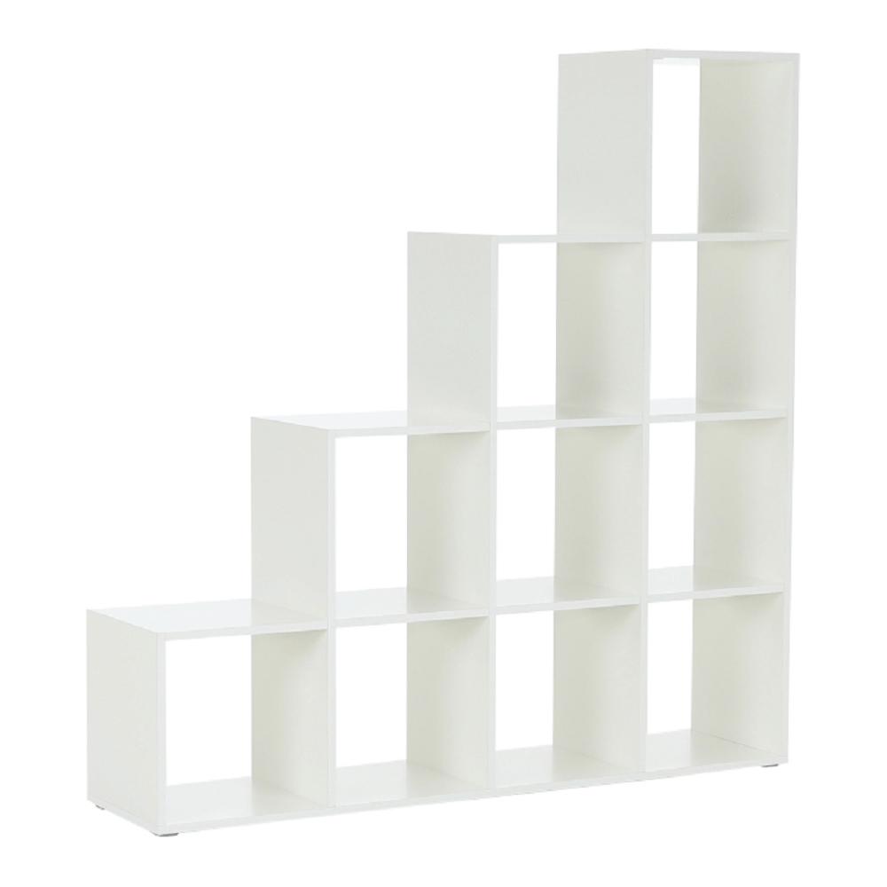 könyvespolc piramis, fehér, laminált DTD, NORAH