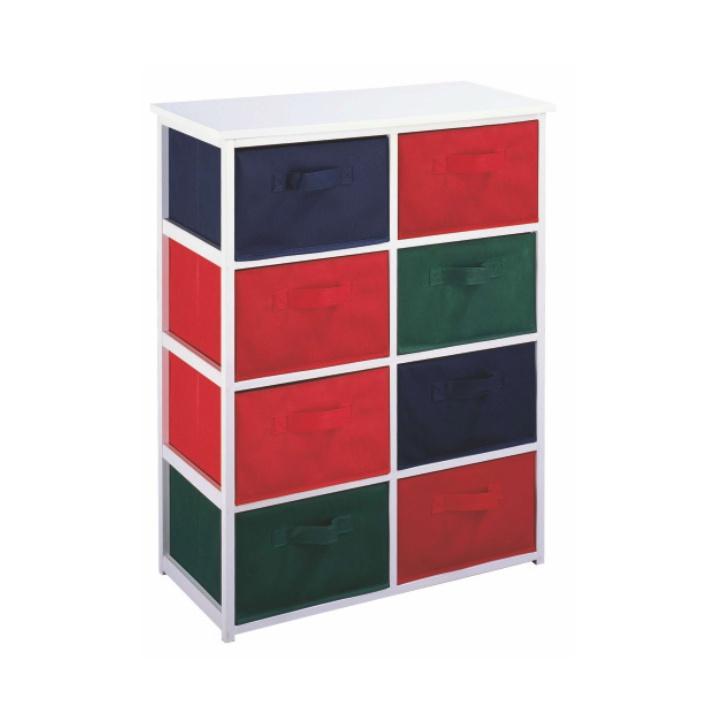 Viacúčelová komoda s úložnými boxami z látky, biely rám/farebné boxy, COLOR 95