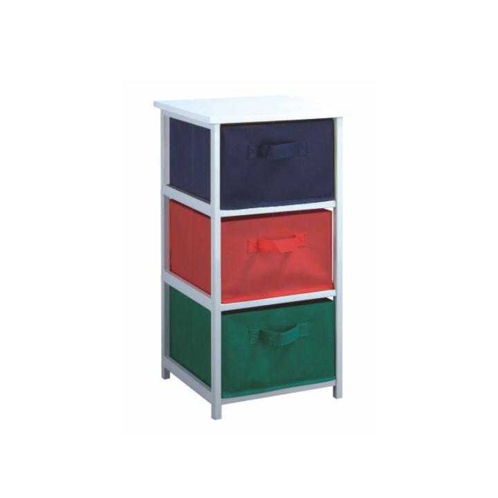 Viacúčelová komoda s úložnými boxami z látky, biely rám/farebné boxy, COLOR 94