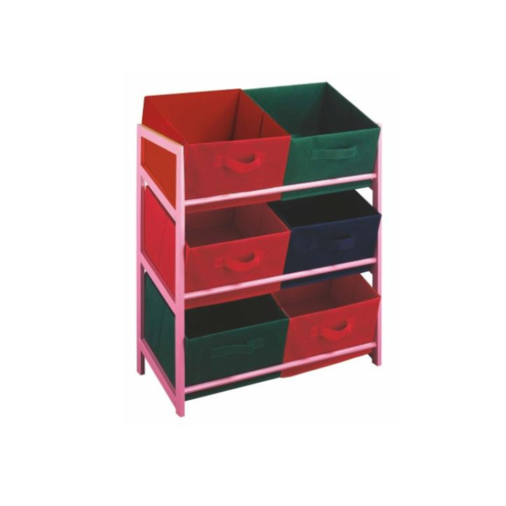 Többcélú komód tároló dobozok szövetből, rózsaszín keret / színes dobozok, COLOR 96
