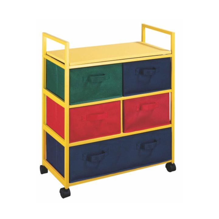 Viacúčelová komoda s úložnými boxami z látky, žltý rám/farebné boxy, COLOR 92