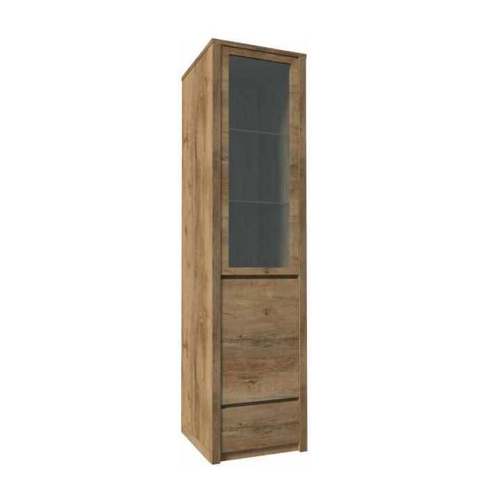 Vitrín szekrény 1- kihúzható fiókkal és osztot ajtóval-teljessen üvegezett, tölgyfa lefkas, MONTANA W1D