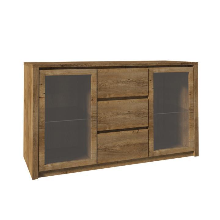 Komód dupla üvegajtós, 3- fiókos szekrény és három aljazattal, tölgyfa lefkas, MONTANA K2D