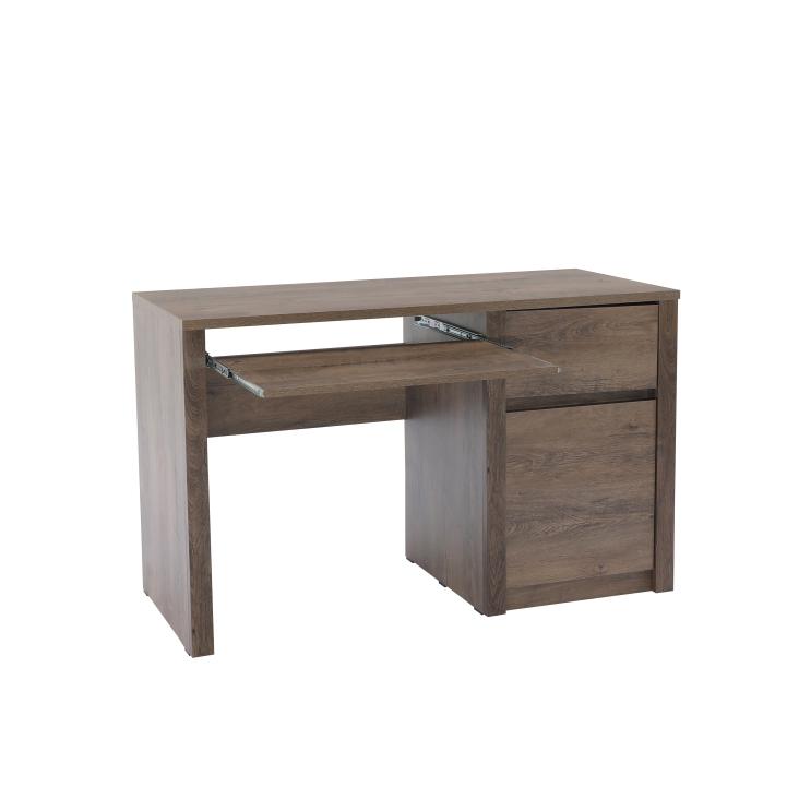 PC stolík s jednou zásuvkou a jednými dverami, dub lefkas, MONTANA B1, na bielom pozadí